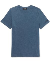 A.P.C. - Embroidered Slub Cotton-blend Jersey T-shirt - Lyst