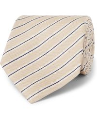 Brioni - 8cm Striped Silk And Linen-blend Tie - Lyst