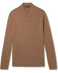 Theory - Slim-fit Ribbed Merino Wool-blend Sweater - Lyst