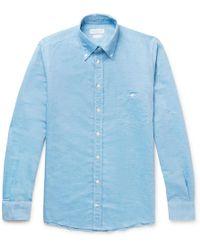 Richard James - Button-down Collar Slub Linen And Cotton-blend Shirt - Lyst