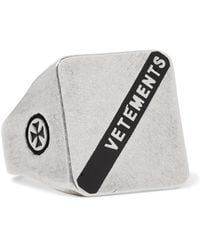 Vetements - Logo-embossed Burnished Silver-tone Ring - Lyst
