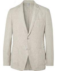 BOSS - Beige Hanry Slim-fit Unstructured Linen Suit Jacket - Lyst