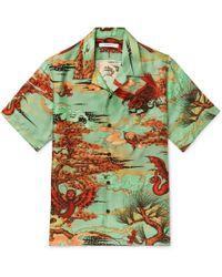 Givenchy - Camp-collar Printed Silk-satin Shirt - Lyst