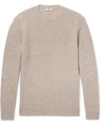 Hackett - Elbow-patch Mélange Linen, Wool, Silk And Cashmere-blend Jumper - Lyst