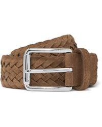 Tod's - 3.5cm Tan Woven Suede Belt - Lyst