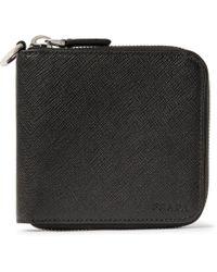 Prada - Saffiano Leather Zip-around Wallet - Lyst