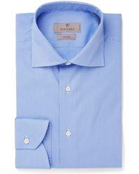 Canali - Blue Cutaway-collar Puppytooth Stretch Cotton-blend Shirt - Lyst