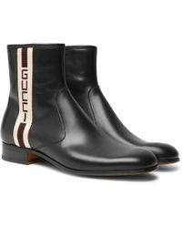 Gucci - Bonny Webbing-trimmed Leather Chelsea Boots - Lyst