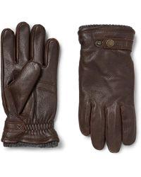 Hestra - Utsjö Fleece-lined Full-grain Leather And Wool-blend Gloves - Lyst