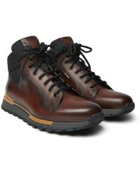 Berluti - Fast Track Leather And Jacquard-shell Hiking Boots - Lyst