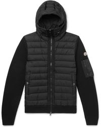 Moncler - Panelled Wool-blend And Quilted Shell Hooded Down Jacket - Lyst