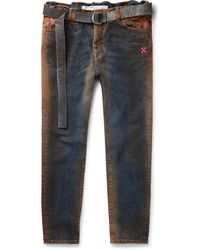 Off-White c/o Virgil Abloh Oil-washed Denim Jeans - Blue