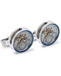Tateossian - Gear Rhodium-plated And Enamel Cufflinks - Lyst