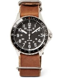 Timex - Navi Ocean Stainless Steel And Stonewashed-leather Watch - Lyst
