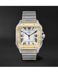 Cartier - Santos Automatic 39.8mm 18-karat Gold Interchangeable Stainless Steel And Leather Watch - Lyst