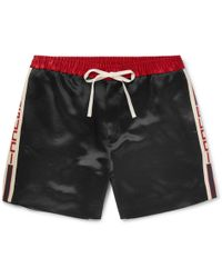 Gucci - Wide-leg Webbing-trimmed Satin-twill Shorts - Lyst