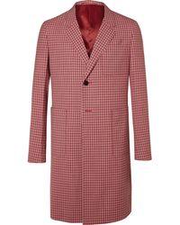 Prada - Checked Wool-jacquard Coat - Lyst