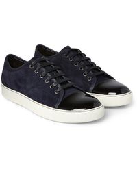 Lanvin - Cap-toe Suede And Patent-leather Trainers - Lyst