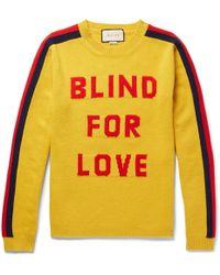 ee6fb706aa4 Gucci - Slim-fit Intarsia Wool Sweater - Lyst
