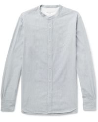 Officine Generale - Gaspard Grandad-collar Striped Cotton-dobby Shirt - Lyst