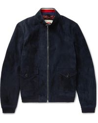 gucci leather jacket. gucci | suede harrington jacket lyst leather f