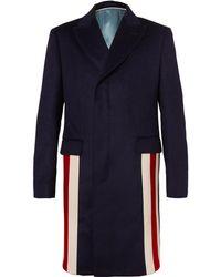 76d7459c0f6c Gucci - Stripe-trimmed Cashmere And Wool-blend Coat - Lyst
