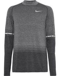 Nike - Mélange Dri-fit Mock-neck T-shirt - Lyst
