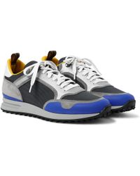 Dunhill - Radial Runner Leather And Suede-trimmed Mesh Sneakers - Lyst
