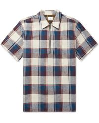 PS by Paul Smith - Checked Cotton And Linen-blend Half-zip Shirt S - Lyst