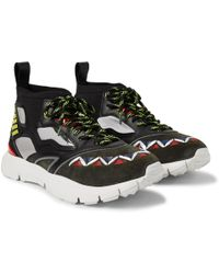 Valentino - Heroes Reflex Suede, Leather And Mesh Sneakers - Lyst