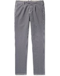 Incotex - Slim-fit Gingham Cotton Trousers - Lyst