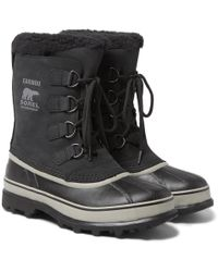 Sorel - Caribou Waterproof Nubuck And Rubber Snow Boots - Lyst