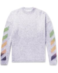 Off-White c/o Virgil Abloh - Oversized Printed Mohair-blend Sweater - Lyst