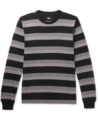 Stussy - Striped Cotton-jersey T-shirt - Lyst