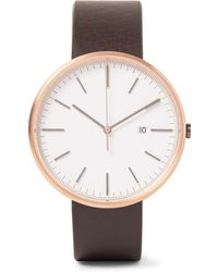 Uniform Wares - M40 Rose Gold Pvd-coated Stainless Steel And Leather Watch - Lyst