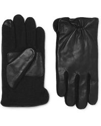 Polo Ralph Lauren - Touchscreen Leather And Flannel Gloves - Lyst
