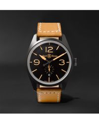 Bell & Ross - Br 123 Heritage Automatic 41mm Pvd-coated Steel And Leather Watch - Lyst
