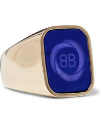 Balenciaga - Gold-tone Signet Ring - Lyst