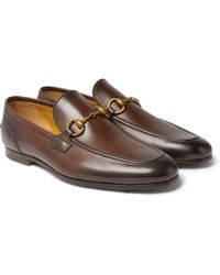 a9adbb979d2 Gucci - Jordaan Horsebit Burnished-leather Loafers - Lyst