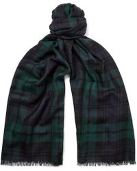 Johnstons - Fringed Black Watch Checked Cashmere Scarf - Lyst