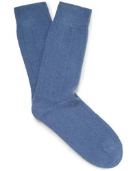 42d851e7a Lyst - Emma Willis Ribbed Cashmere Shooting Socks in Green for Men