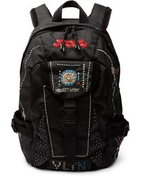 Valentino - Garavani Suede-trimmed Embellished Nylon Backpack - Lyst