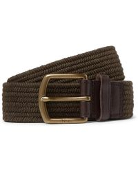 Polo Ralph Lauren - 3.5cm Army-green Leather-trimmed Woven Belt - Lyst