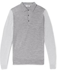 John Smedley - Brightgate Slim-fit Two-tone Wool Polo Shirt - Lyst