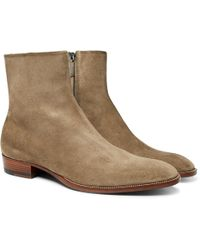 Saint Laurent - Wyatt Brushed-suede Boots - Lyst