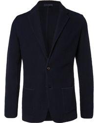Lardini - Midnight-blue Slim-fit Textured-cotton Blazer - Lyst
