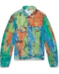 d4914a3d3adf Off-White c o Virgil Abloh - Painted Distressed Denim Trucker Jacket - Lyst