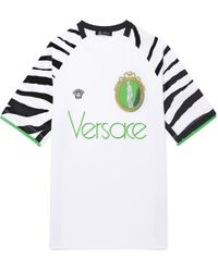 Versace - Logo-embroidered Printed Jersey T-shirt - Lyst