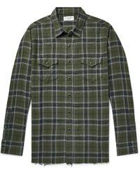 Saint Laurent - Distressed Checked Cotton-flannel Shirt - Lyst