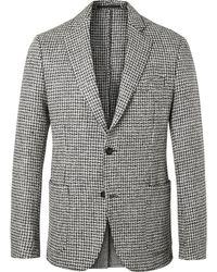 Officine Generale - Grey Slim-fit Unstructured Houndstooth Wool-tweed Blazer - Lyst